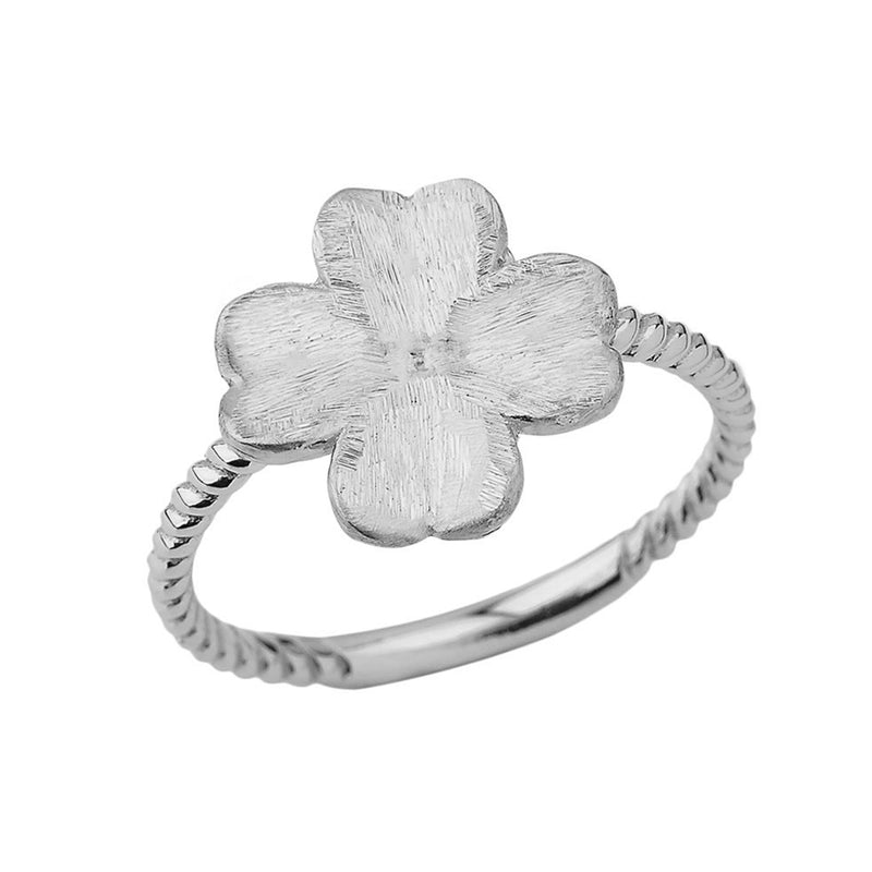 Designer Satin Finish Clover on Rope Band Ring In Sterling Silver