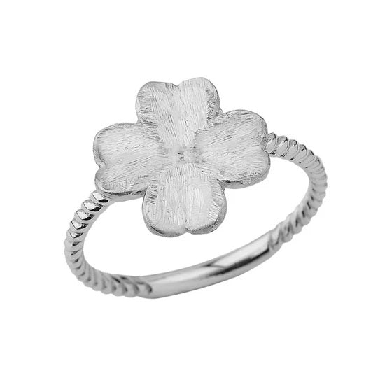 Four-Leaf Clover Rope Ring in Solid White Gold