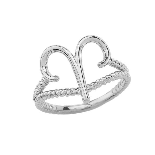 Aries Zodiac Symbol Rope Ring in Solid White Gold