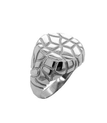 Modern Mens Nugget Ring In Solid White Gold