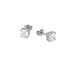 Solitaire Asscher-Cut CZ Stud Earrings in Sterling Silver(Small Size)