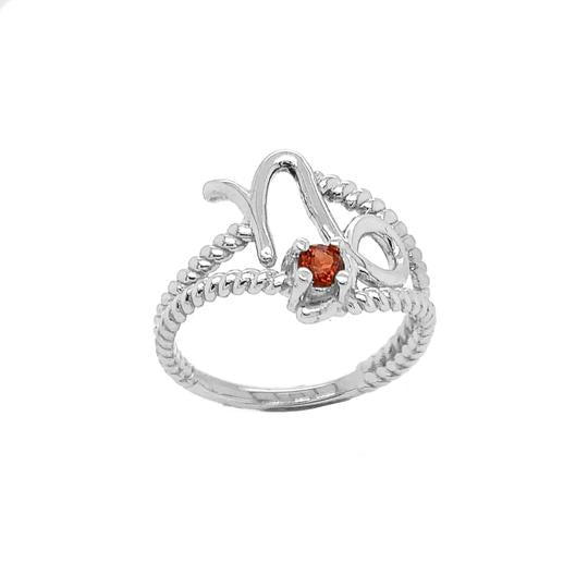 Genuine Garnet Capricorn Zodiac Rope Ring In Solid White Gold