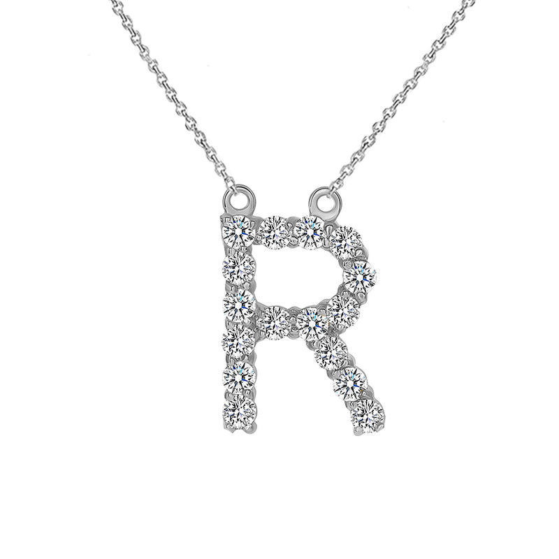 "Initial ""R"" Diamond Letter Necklace in Solid Gold"