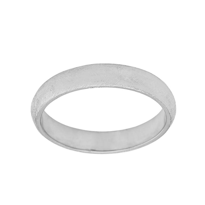 Solid White Gold Satin Finish Gold Band Comfort Fit Ring