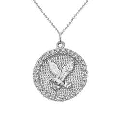 American Eagle Disc Pendant Necklace in Sterling Silver