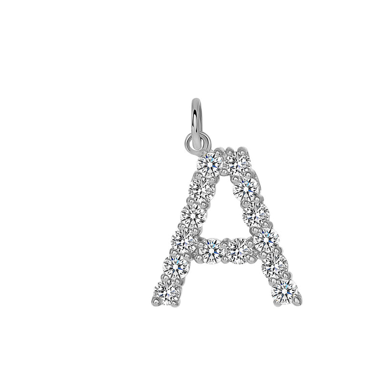 "Initial ""A"" CZ Letter Pendant/Necklace in Sterling Silver"