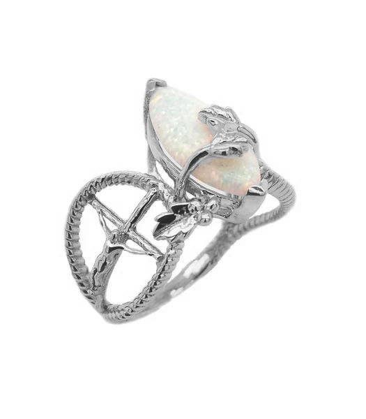 Opal Nature Cross Ring In Solid Sterling Silver