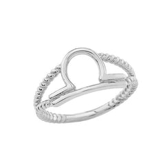 Libra Zodiac Rope Ring in Solid White Gold