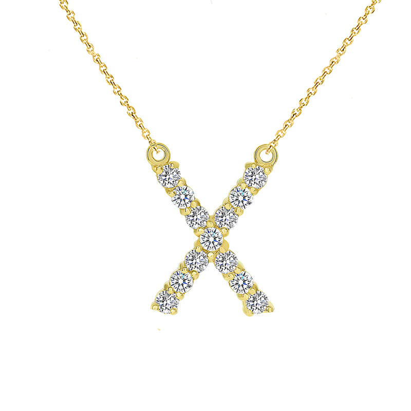 "Initial ""X"" Diamond Letter Necklace in Solid Gold"
