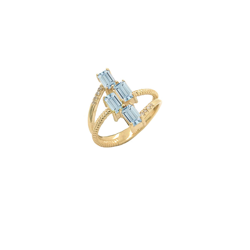 Solid Gold Diamond & Emerald Cut Genuine Aquamarine Rope Statement Ring