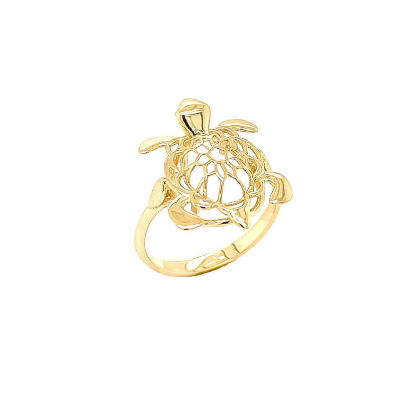 Turtle Statement Ring in Solid Yellow Gold
