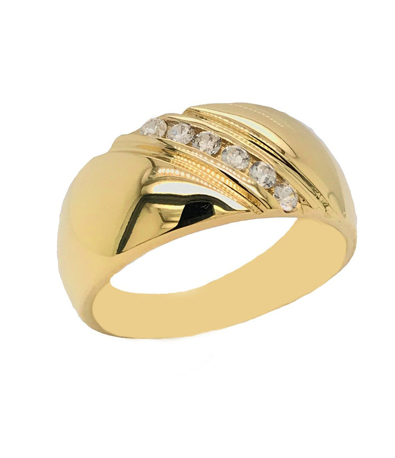 Men's 6-Stone Diamond Wedding Ring in Yellow Gold