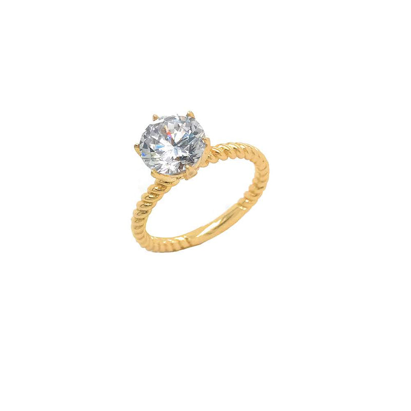 Twisted Rope 3ct. Engagement Ring in Yellow Gold