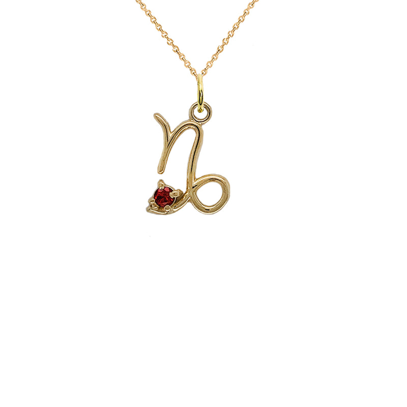 garnet pendant yellow gold