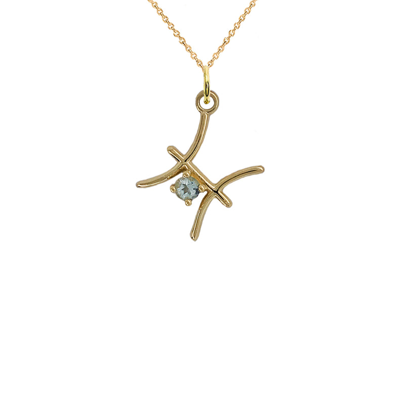 Pisces Zodiac March Birthstone Genuine Aquamarine Pendant Necklace in Solid Gold