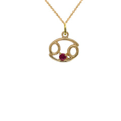 Cancer Zodiac & July Birthstone Genuine Ruby Pendant Necklace in Solid Gold