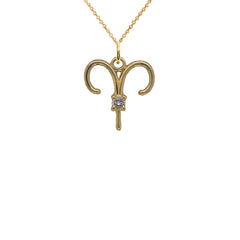 Aries Zodiac & April Birthstone Cubic Zirconia Pendant/Necklace in Solid Gold