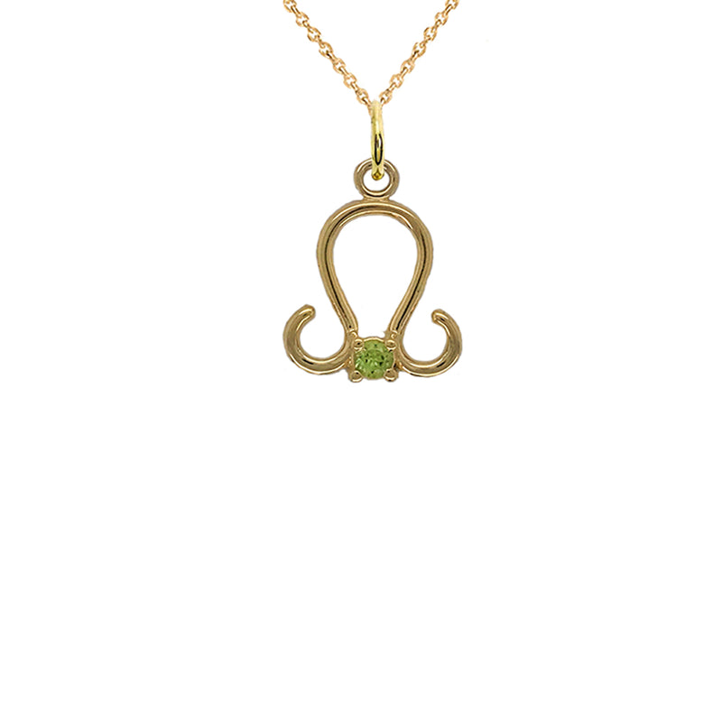 Leo Zodiac & August Birthstone Genuine Peridot Pendant/Necklace in Solid Gold