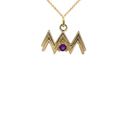 Aquarius Zodiac & February Birthstone Genuine Amethyst Pendant/Necklace in Solid Gold