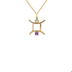 Gemini Zodiac & June Birthstone Genuine Alexandrite Pendant/Necklace in Solid Gold