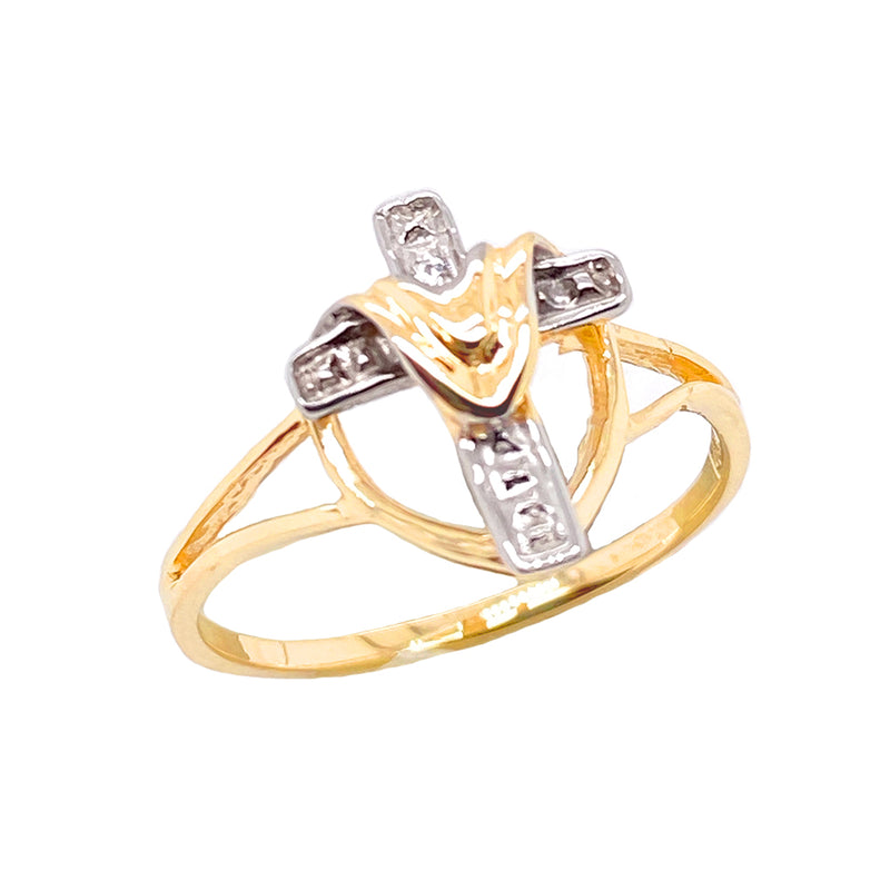 Diamond Cloaked Cross Statement Ring in Solid Two Tone Yellow Gold