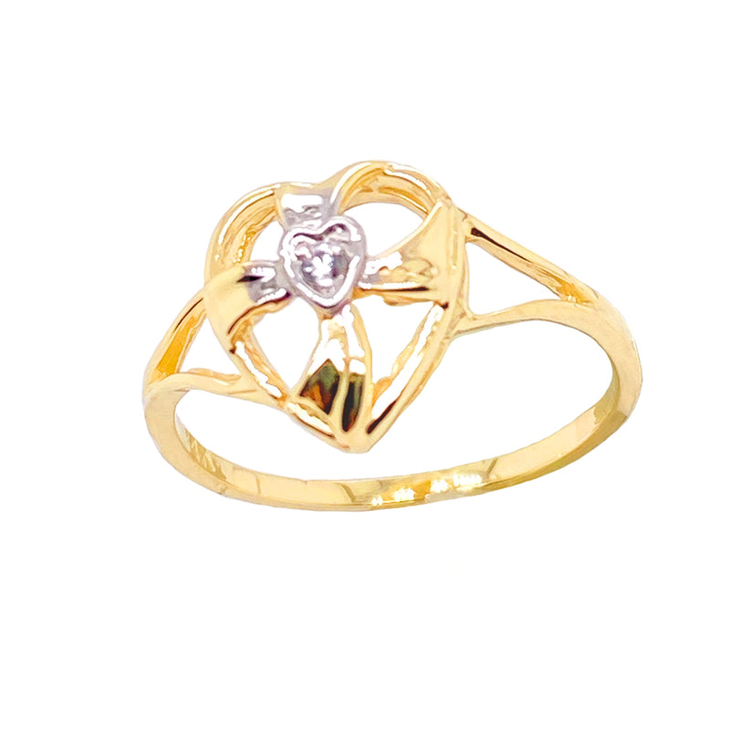 Solitaire Diamond Open Heart Cross Ring in Solid Yellow Gold