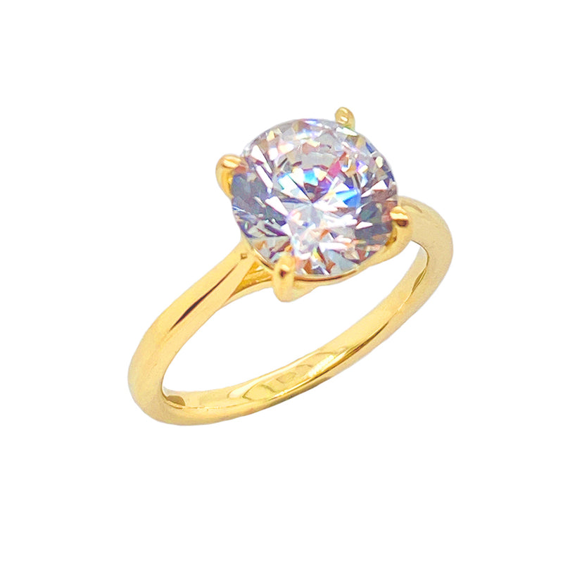 Dainty Solitaire CZ Rope Engagement Ring in Solid Yellow Gold (X-Large Size)