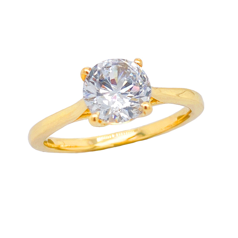 cubic zirconia solitaire ring yellow gold