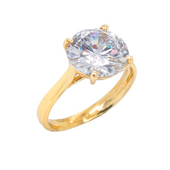 Dainty Solitaire CZ Rope Engagement Ring in Solid Yellow Gold (XX-Large Size)