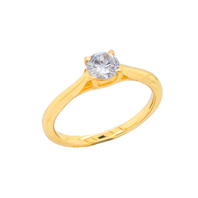 Dainty Solitaire CZ Rope Engagement Ring in Solid Yellow Gold(X-Small Size)