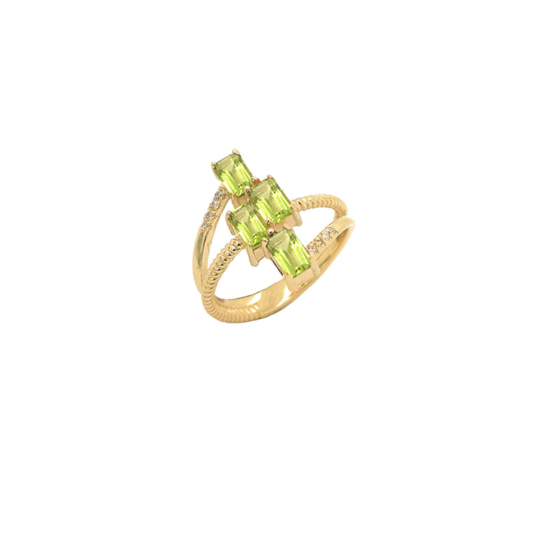 Solid Gold Diamond & Emerald Cut Genuine Peridot Rope Statement Ring