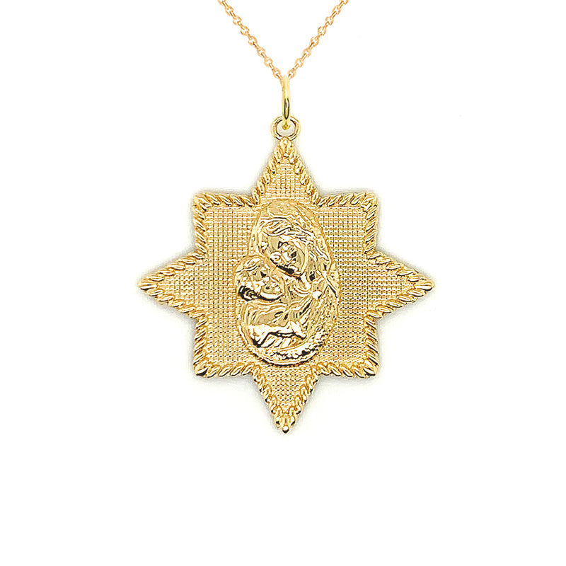 Virgin Mary and Jesus Star Pendant Necklace in Gold