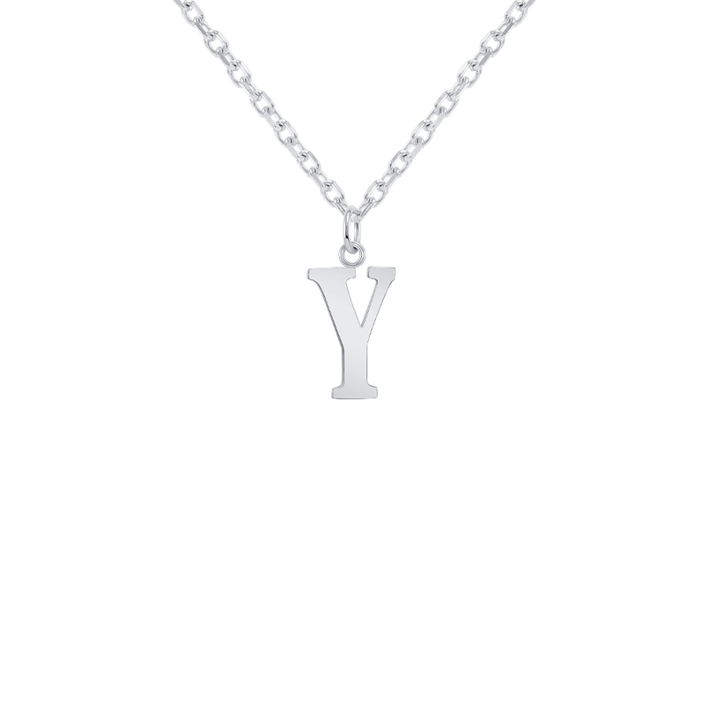 "Customizable Initial ""Y"" Pendant Necklace in Solid Gold"