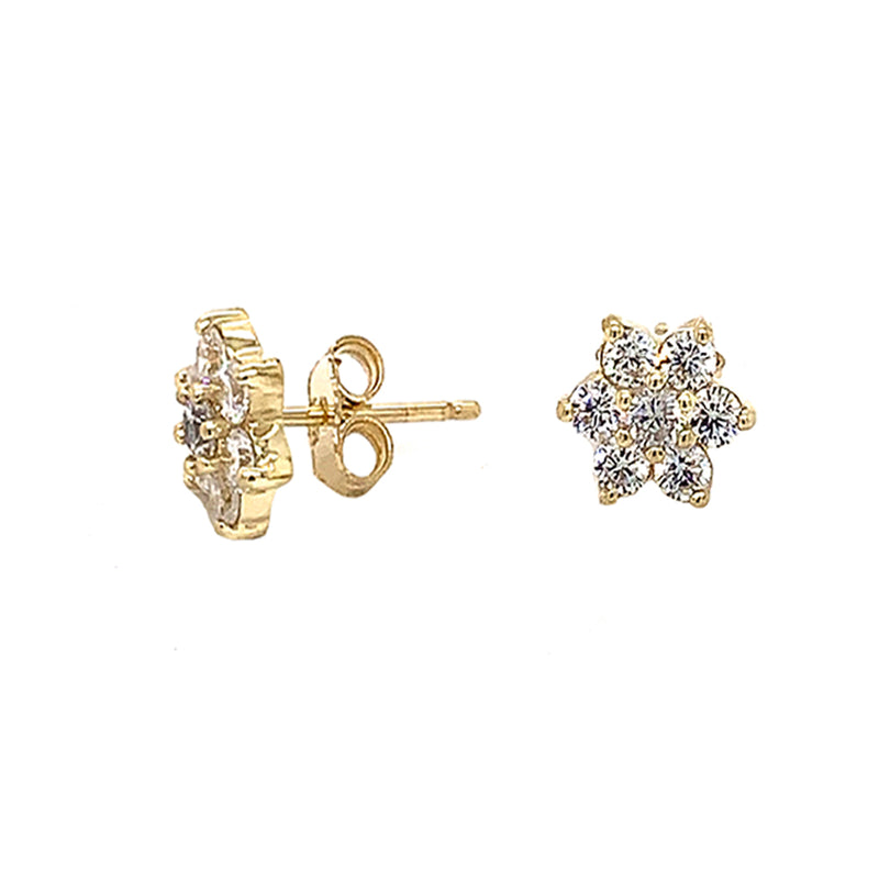 Flower Cluster Stud Earrings in Solid Gold