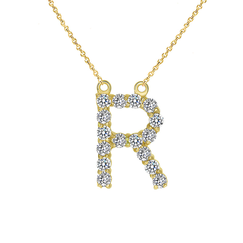 "Initial ""R"" CZ Letter Necklace in Solid Gold"