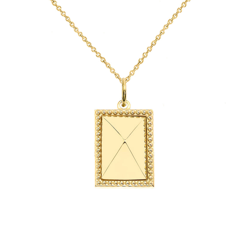Milgrain Rectangle Shaped Statement Pendant/Necklace In Solid Gold