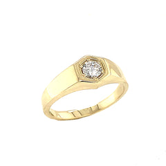 Unisex White Topaz Statement Signet Ring in Solid Yellow Gold