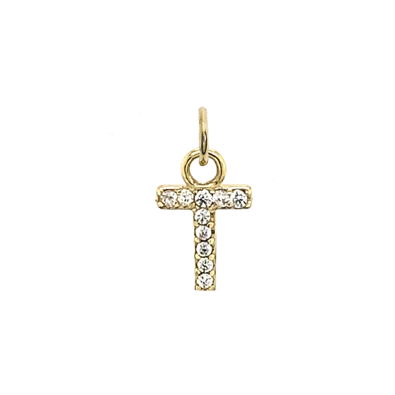 "Customizable Diamond Initial ""T"" Pendant Necklace in Solid Gold"
