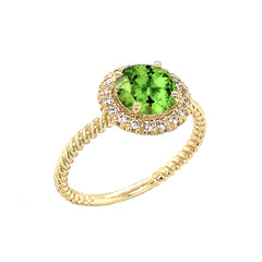 Round Cut Genuine Peridot Engagement Band Ring with Diamonds In Solid Yellow Gold