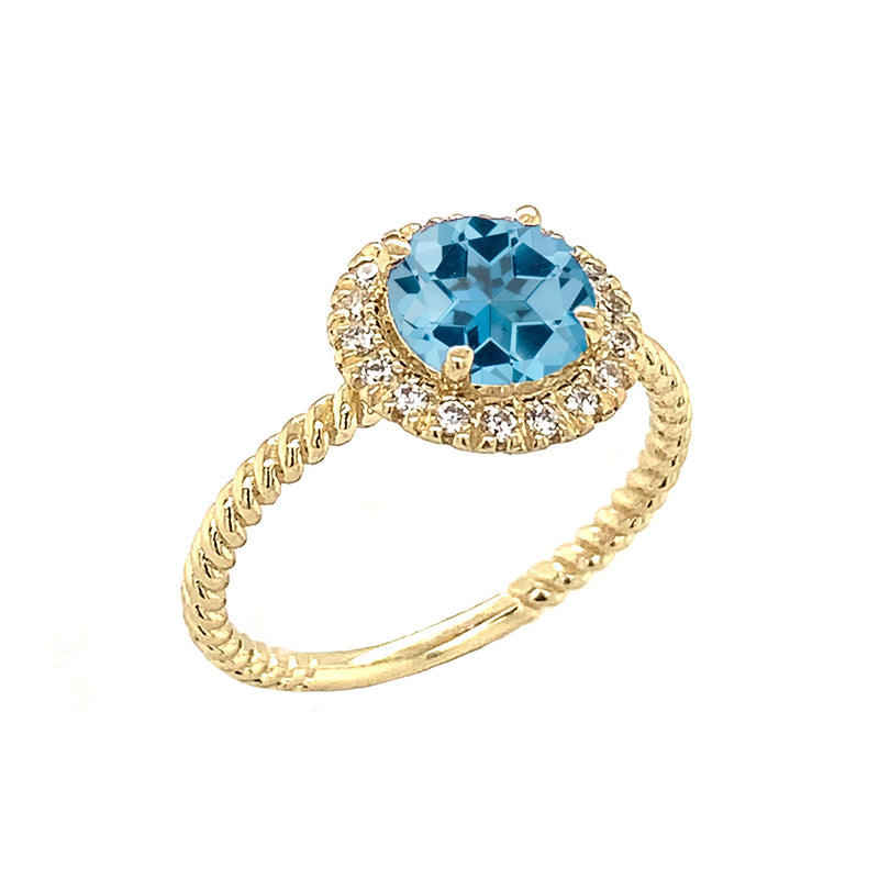 Round Cut Blue Topaz Engagement Band Ring with Diamonds In Solid Yellow Gold
