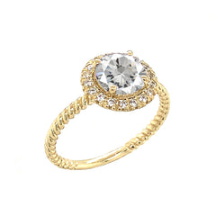 Round Cut White Topaz Engagement Band Ring with Diamonds In Solid Yellow Gold