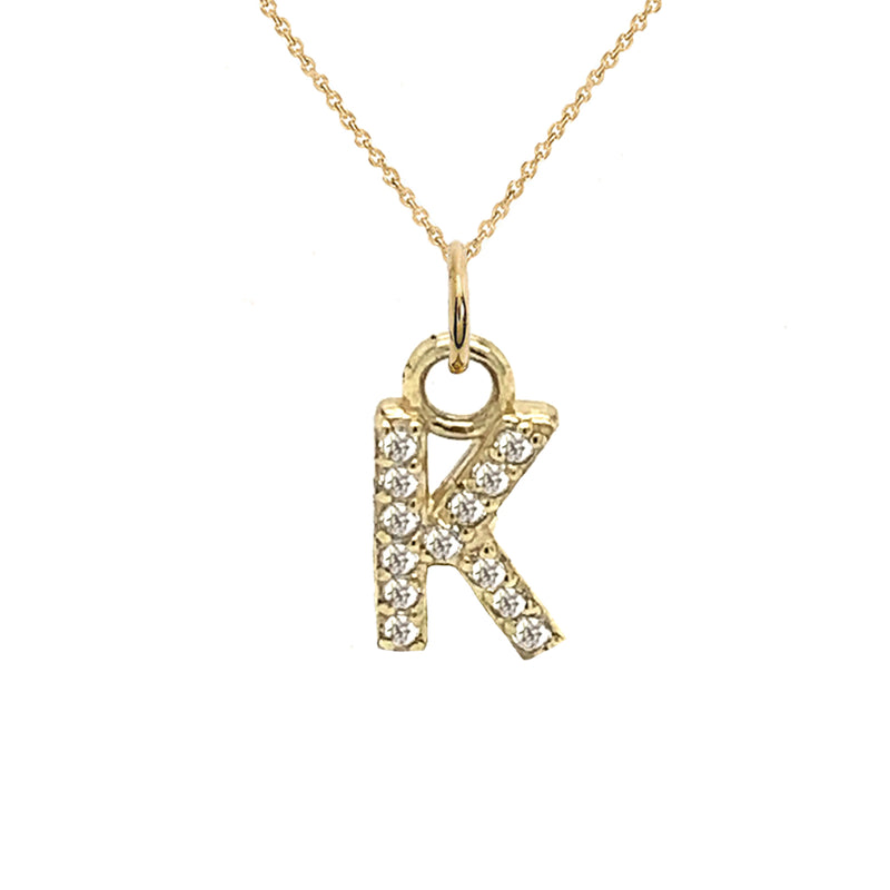 "Customizable Diamond Initial ""K"" Pendant Necklace in Solid Gold"