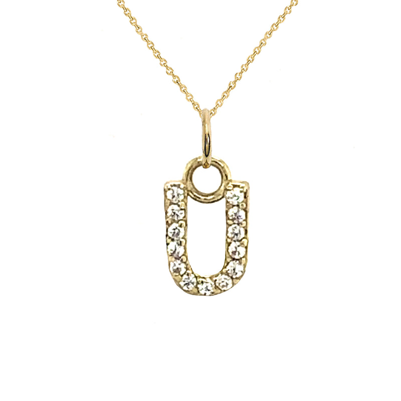 "Customizable Diamond Initial ""U"" Pendant Necklace in Solid Gold"
