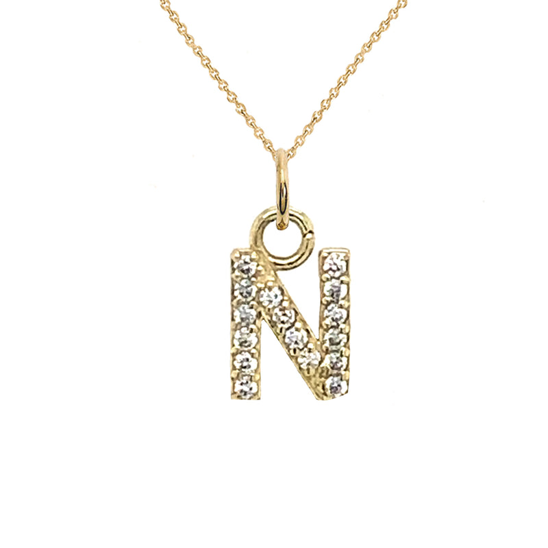 "Customizable Diamond Initial ""N"" Pendant Necklace in Solid Gold"