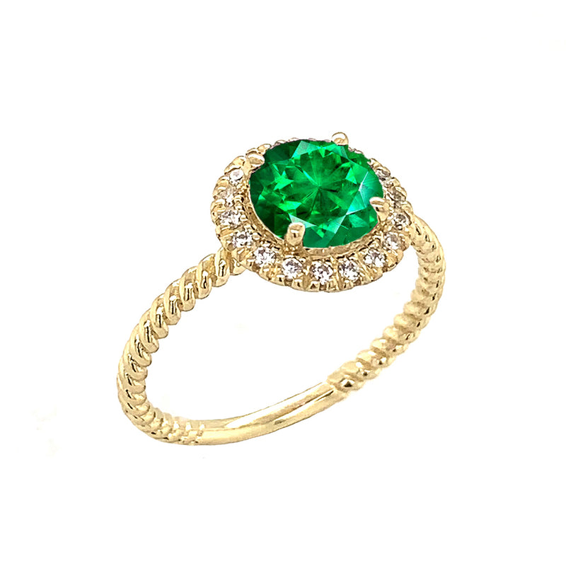 Round Cut Green CZ Engagement Band Ring with Diamonds In Solid Yellow Gold