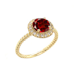 Round Cut Genuine Garnet Engagement Band Ring with Diamonds In Solid Yellow Gold
