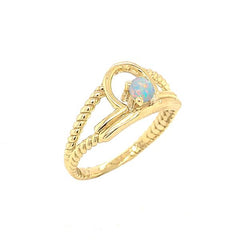 Opal Gemstone Libra Zodiac Rope Ring in Yellow Gold