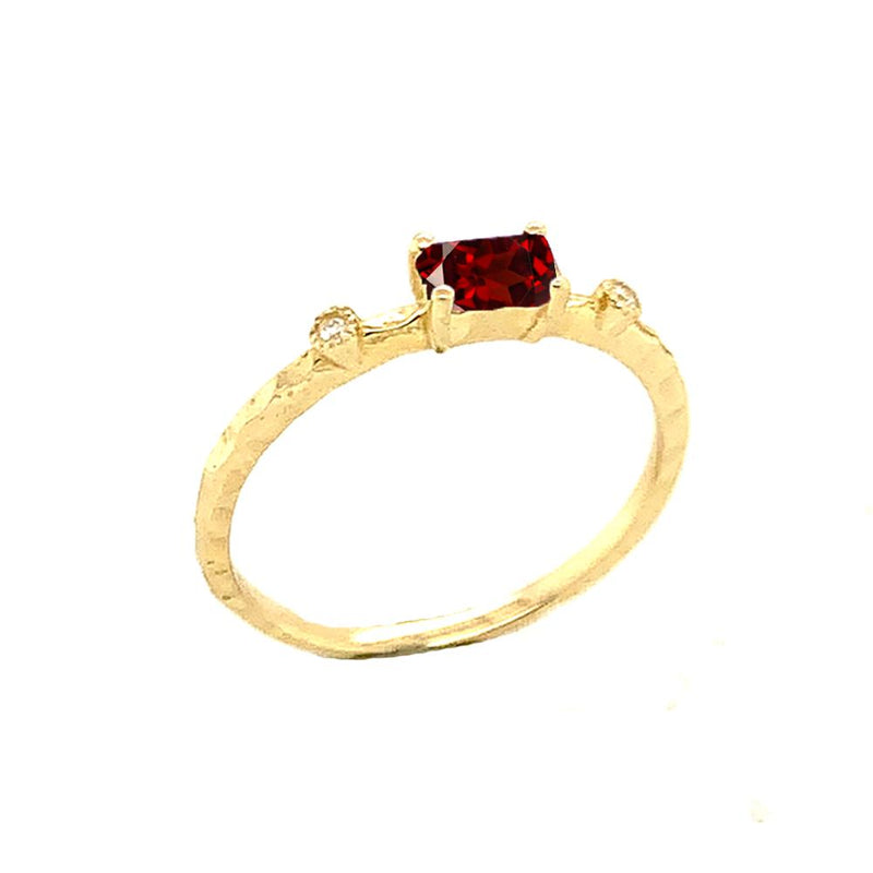 Dainty Genuine Garnet & Diamond Stackable Ring In Solid Yellow Gold
