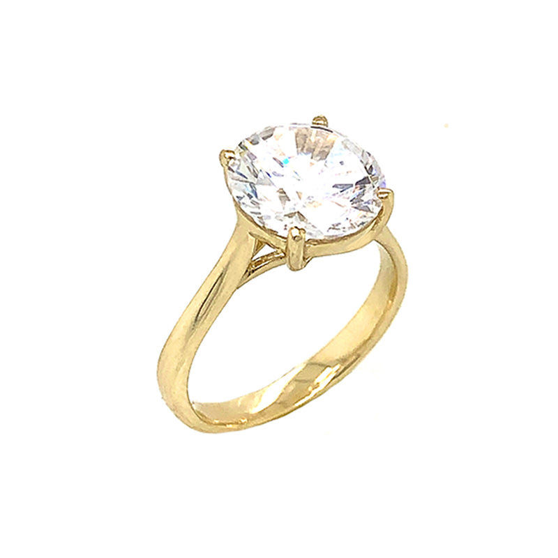 Solitaire 6 Carat Round Engagement Ring In Solid Gold