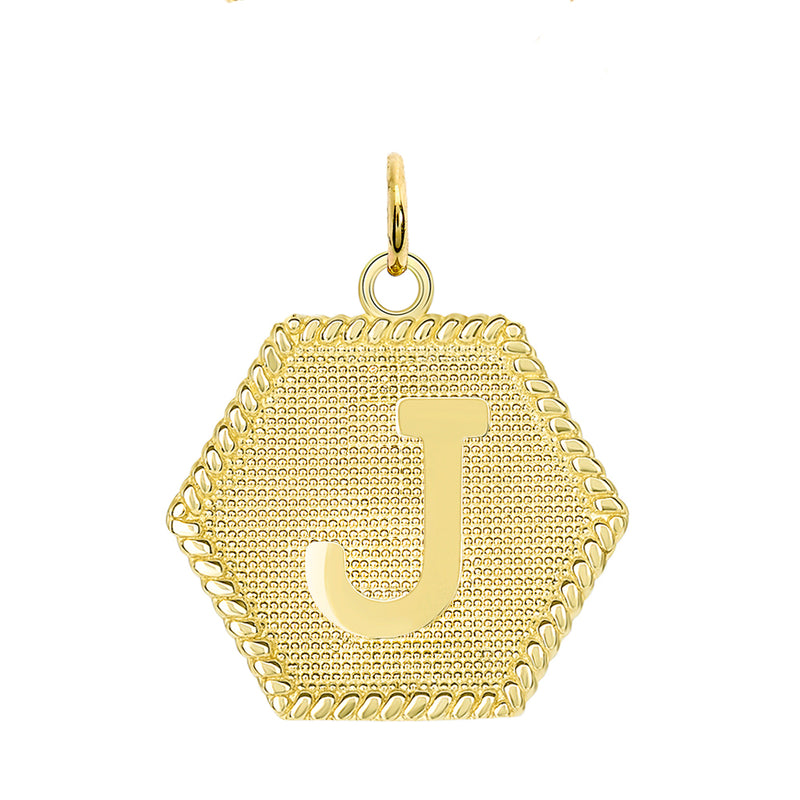 "Initial ""J"" Gold Medallion Pendant Necklace"